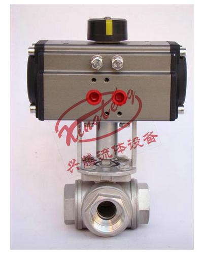 不锈钢气动执行器,电动执行器三通球阀(丝扣气动图片