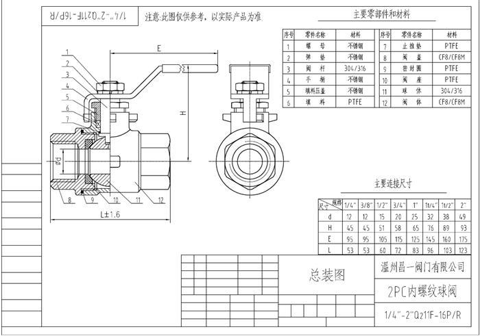 v片式昌一不锈钢二片式带锁内图纸螺纹(201,302602pc球阀图片