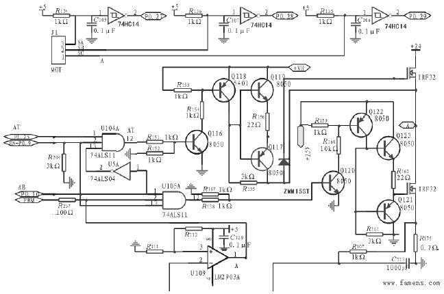 图3 信号采集电路图 在图2中,场效应管IRF3205上管的驱动电源采用电源变换模块LM2575输出5V时,利用PWM原理产生39V的高压。用74HC14芯片来采集霍尔信号,三个信号连接LPC2132的P0.27,P0.28,P0.29口,P0.27引脚设置第二功能捕获,当来一个脉冲时产生中断,在二个中断之间进行计数。通过计算定时值可以获得电机的速度。设计中取C8015F410的P2.