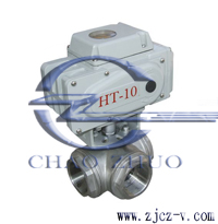 Q914F内螺纹电动三通球阀