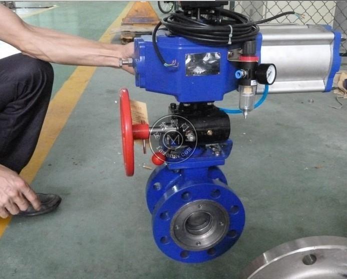 中誠VQ647H泥漿礦漿專用硬密封V型氣動調節球閥