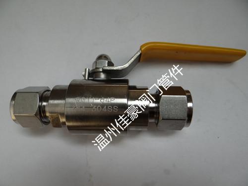 精品優質304不銹鋼卡套球閥,QG.Y1-64P雙卡套氣源球閥