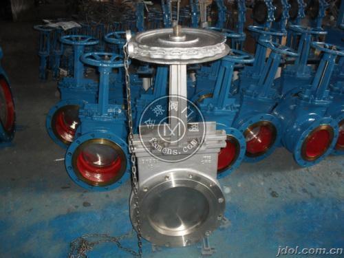 不銹鋼鏈輪式對夾式刀閘閥