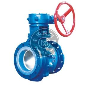 Q341F46-16C蜗轮式衬氟法兰球阀