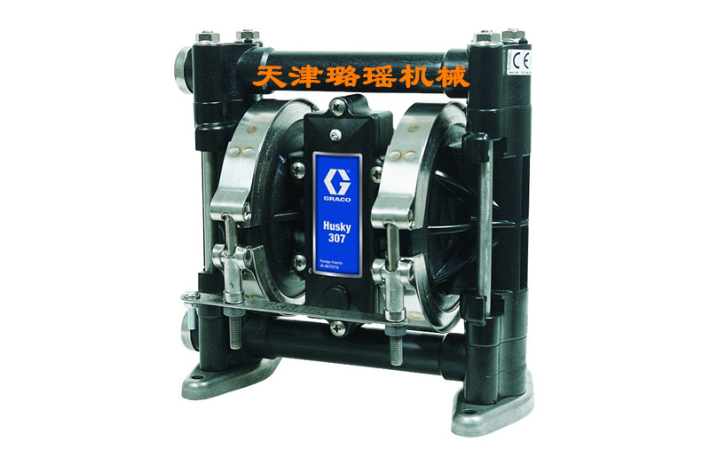 美国GRACO固瑞克气的双隔膜泵HUSKY307黑色乙缩醛/白色聚丙烯材质耐腐蚀耐酸碱化工泵