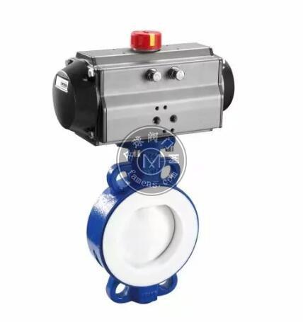 氣動對夾襯氟蝶閥 對夾連接 CF8不銹鋼閥體