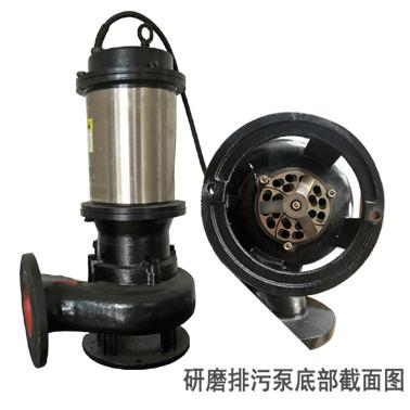 WQG切割式排污泵 液下式研磨排污泵,潜水研磨排污泵