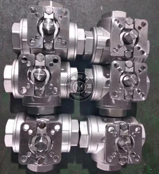 气动T型三通球阀 螺纹连接 双作用气动