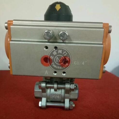 Q611F气动球阀 NPT螺纹球阀 三片式高平台球阀 304 316