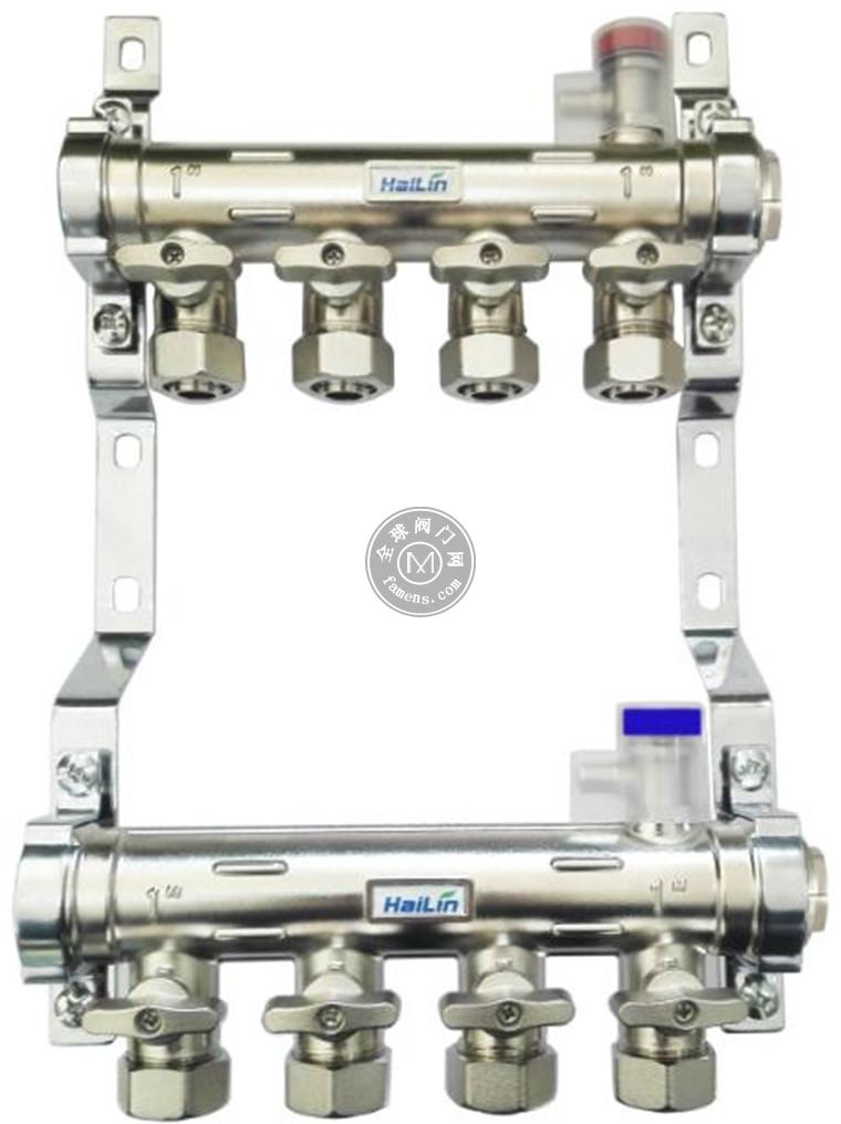 寶雞海林2-8路手動分集水器 黃銅鍍鎳分水器 海林手動控溫集水器TH33