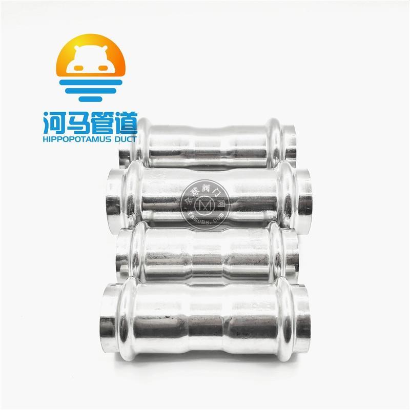 广东不锈钢给水薄管双卡压等径直通三通四通卫生级免焊接厚管件