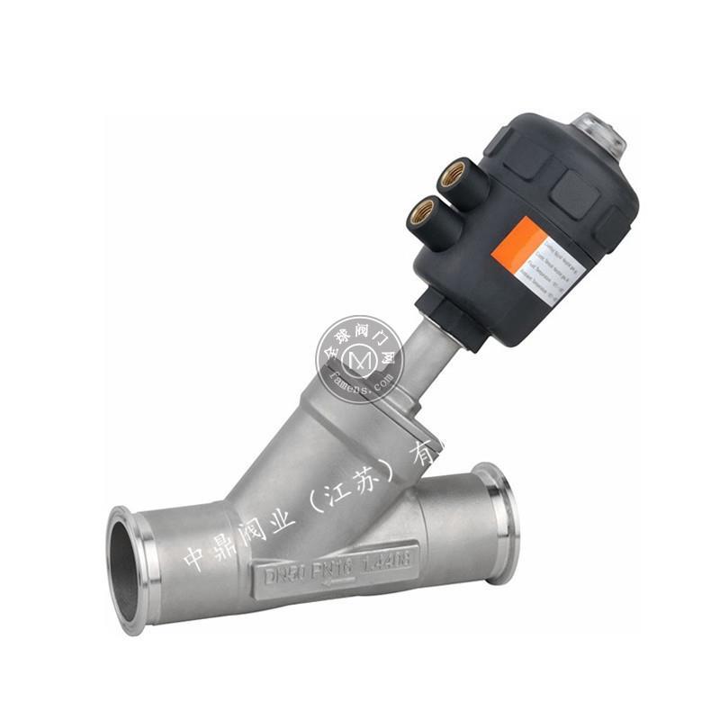 不锈钢气动卡箍快装角座阀塑料头蒸汽Y型耐高温气动阀门