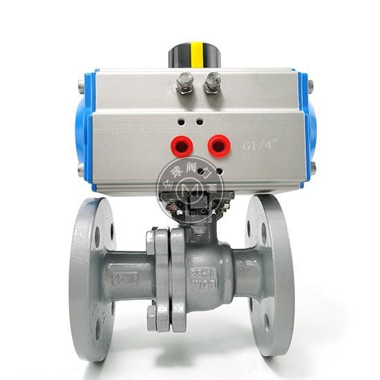气动铸钢法兰球阀Q641F高平台蒸汽耐高温耐腐蚀气动切断法兰球阀