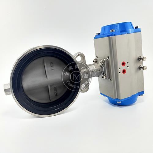 气动高性能蝶阀D671X-16软密封对夹式耐磨损耐腐蚀碳化钨处理阀门