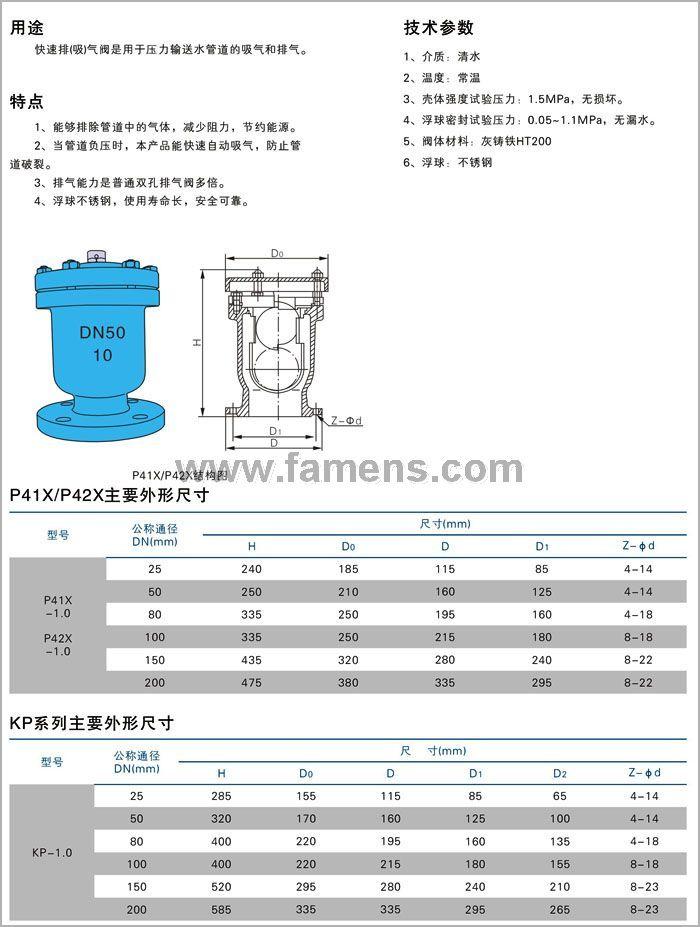 P41X單口排氣閥
