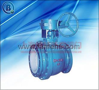 Q347F46蜗轮法兰衬氟固定式球阀